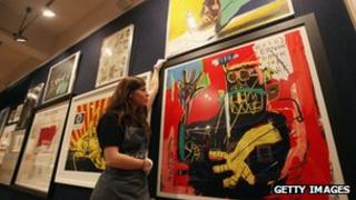 Artworks on display at an auction house