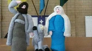 Knitted Nativity characters