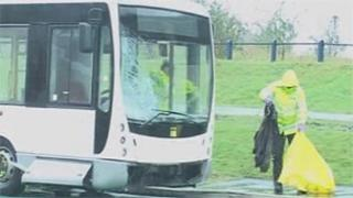 The bus after the incident in Swansea