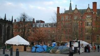 Occupy Sheffield camp at Sheffield Cathedral