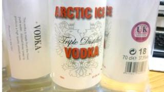 Artic Ice Vodka bottles