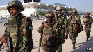 Soldiers from Djibouti in Mogadishu (20 December 2011)