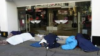 Homeless people sleeping on London streets