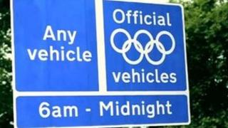 Olympic Route Network sign, pic courtesy of TfL