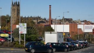 Tuttle Street chimney and St Giles Church dominate Wrexham's skyline