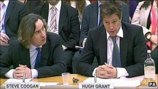 Steve Coogan and Hugh Grant give evidence on privacy to a Parliamentary committee