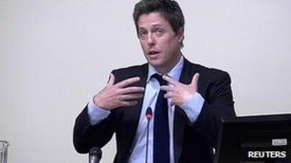Actor Hugh Grant at the leveson Inquiry