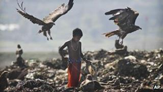 Indian child in a garbage dump