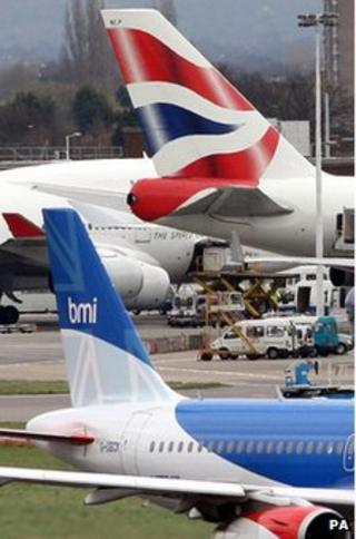 BMI and BA planes at Heathrow