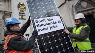 Campaigners outside High Court over solar panel tariff cuts