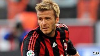 David Beckham playing for AC Milan