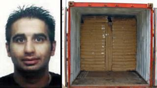 Ihtesham Ali Hassan and the container he used to smuggle the cigarettes