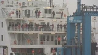 Ferry in Hull docks