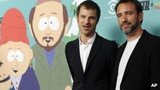 South Park creators Matt Stone, left, and Trey Parker, Sept 2011, California