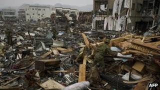 An area devastated by earthquake in Japan