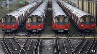 Tube trains sit at a depot in Morden, south London, on Monday