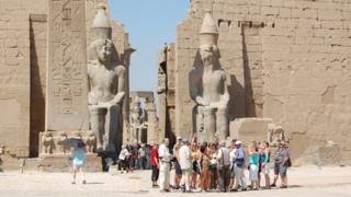 Tourists at Luxor Temple