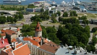Tallinn's Old Town in the foreground, with the port in the distance