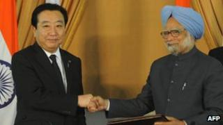 Japanese prime minister Yoshihiko Noda and Indian Prime Minister Manmohan Singh