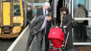 Transport Minister Keith Brown and Steve Montgomery, managing director of First ScotRail, at Dunblane station