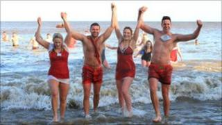 Cromer dippers were all smiles despite the cold water