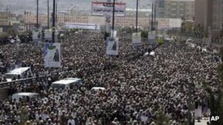 Protesters opposed to President Ali Abdullah Saleh in Sanaa, Yemen - 30 December 2011