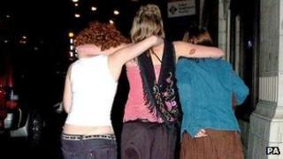 Revellers in Nottingham
