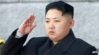"""This tv grab taken from North Korean TV on 28 December 2011 shows Kim Jong-Un saluting during his father Kim Jong-Il""""s funeral at Kumsusan Memorial Palace in Pyongyang"""