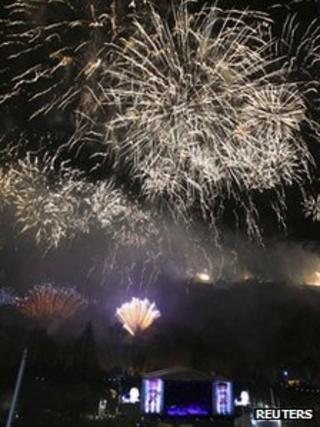 Hogmanay fireworks over Edinburgh