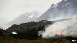 Fire burns in the Torres del Paine National Park