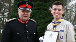 Martin Keane with the Lord Lieutenant of Renfrewshire, Guy Clark