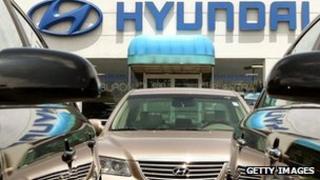 A Hyundai forecourt