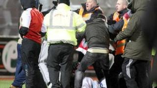 Trouble broke out after the League Cup semi-final at Solitude