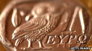 A Greek one euro coin