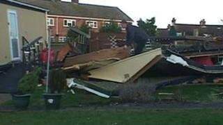 Mobile home destroyed by high winds