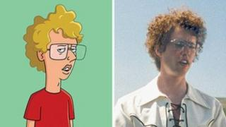 Napoleon Dynamite as Fox's cartoon and the 2004 movie starring John Heder