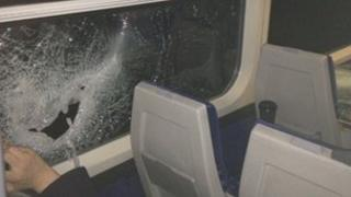 Smashed window on a train