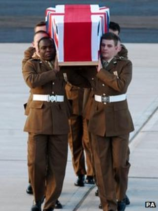The body of Pte John King is repatriated at RAF Brize Norton