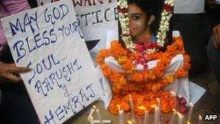 A candle-light vigil for Aarushi Talwar in Jan 2008
