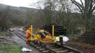 Track laying en route to Corwen