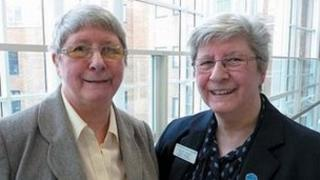 Margaret Askew (left) and Marion Baxter (right), retired employees at the Norfolk and Norwich University Hospital