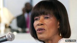 Jamaican Prime Minister Portia Simpson Miller making her inaugural address in Kingston