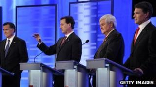 From left to right: Mitt Romney, Rick Santorum, Newt Gingrich and Rick Perry debate in Manchester, New Hampshire, on 7 January 2012