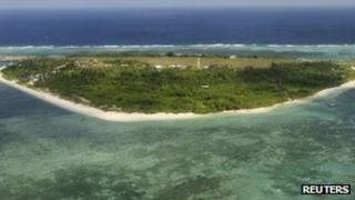 An aerial view of Pagasa (Hope) Island, part of the disputed Spratly group of islands off the coast of the Philippines (image from July 2011)
