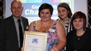 Jade Swain receiving her courage award at Community Champions 2011
