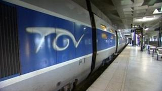 A TGV train in Lille Europe station