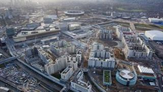 Aerial shot of the athletes' village in the Olympic Park, Stratford, picture taken on 5 December 2011 by Anthony Charlton