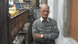 Melvyn Brown outside his home on Elliot Street, Calcutta