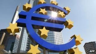 Euro sculpture outside the ECB