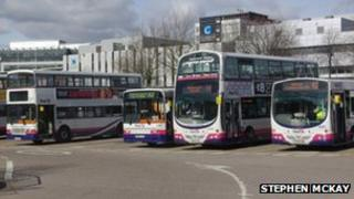 FirstGroup buses at Buchanan Street Bus Station in Glasgow